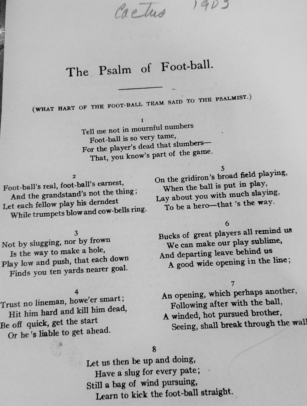 Hart writes the Psalm of Football