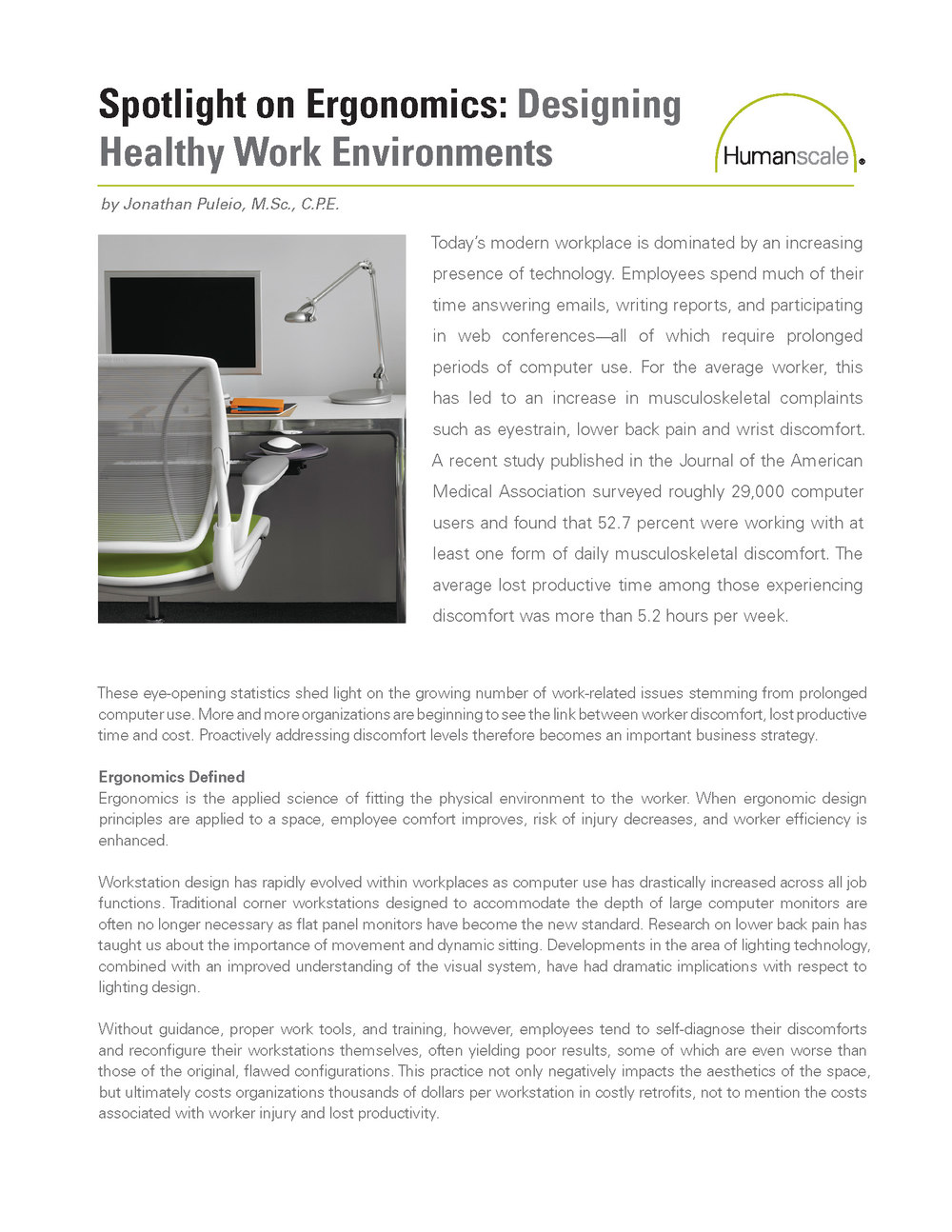 Spotlight on Ergonomics: Designing Healthy Work Environments: courtesy of Humanscale