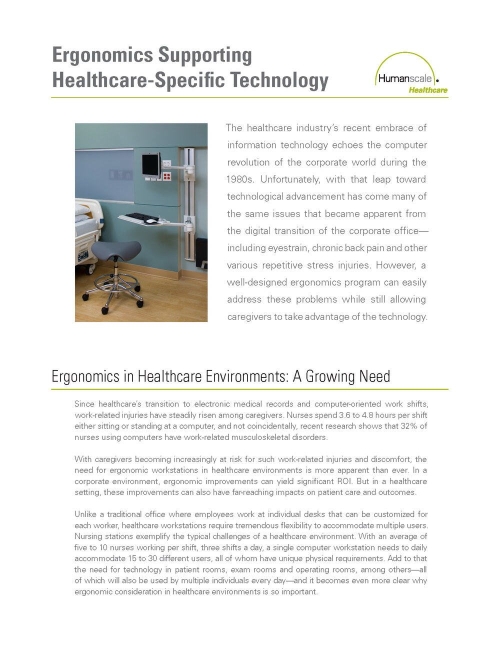 Ergonomics Supporting Healthcare-Specific Technology: courtesy of Humanscale