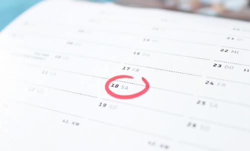 A calendar with a circuled date