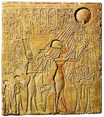 Akhenaten and Nefertiti adoring the Aten ( Source )