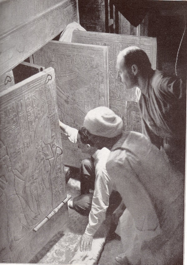 Howard Carter opening the third and fourth doors, KV62. Image: NY Times.