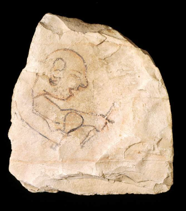 Ostracon showing stubbled man using a chisel. Image ©Fitzwilliam Museum
