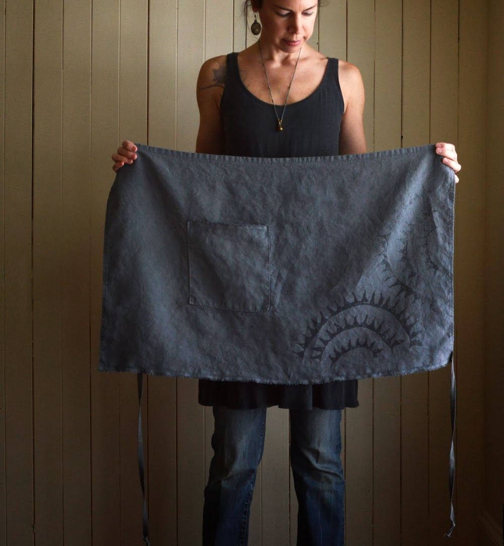 Untold Imprint Hemp Apron in Charcoal Blue