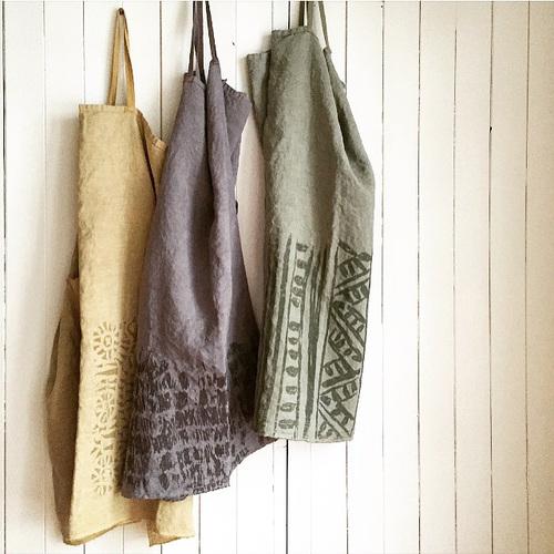 Untold Imprint hemp aprons.