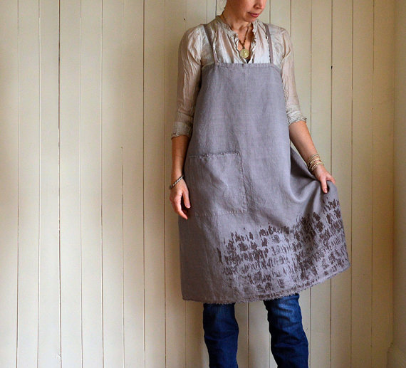 'Fray' lilac hemp full apron. Hand made by Phoebe Stout for Untold Imprint.