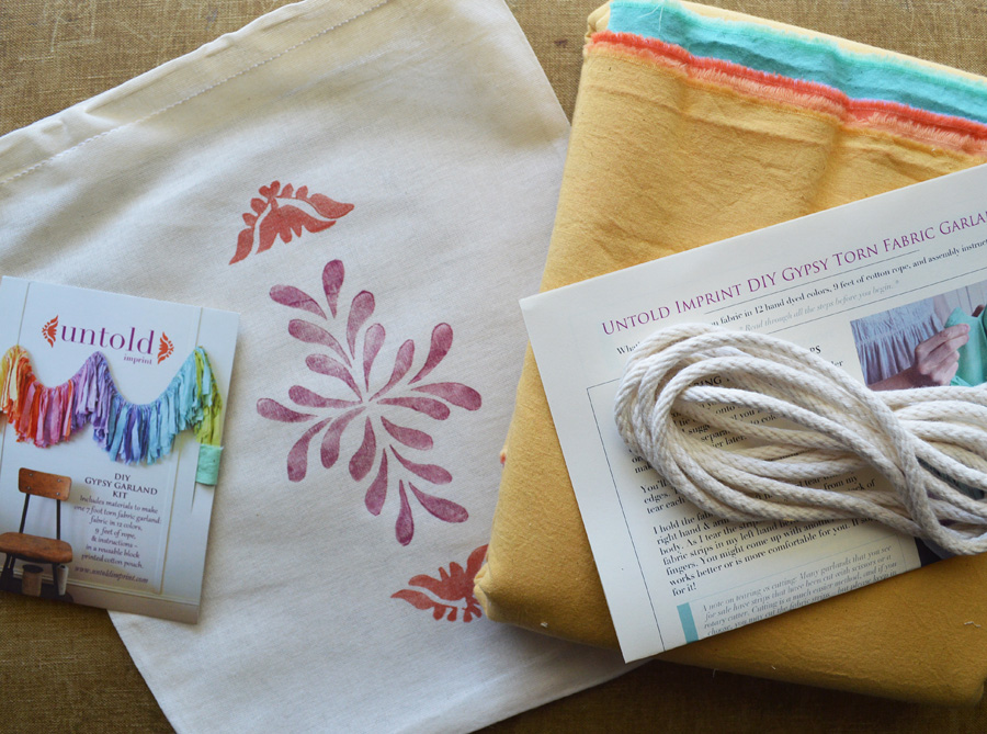 contents of Gypsy torn fabric garland DIY kit by Untold Imprint