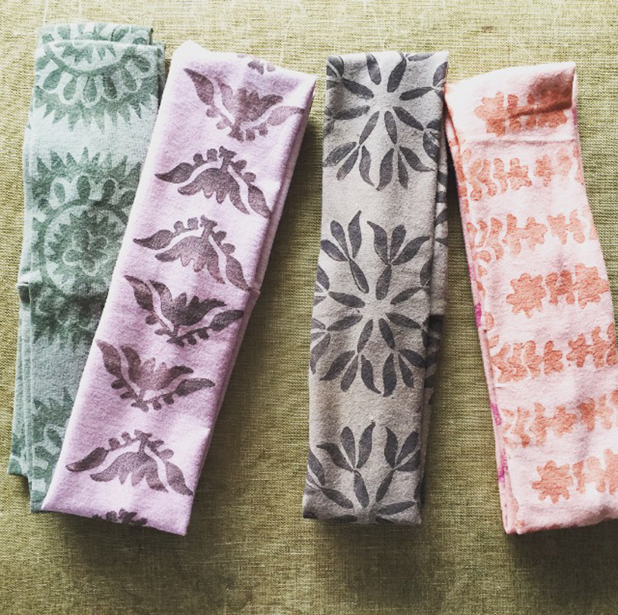block printed, naturally dyed headbands by Untold Imprint