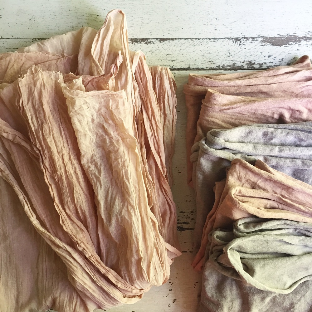 organic cotton gauze & hemp/cotton jersey scarves naturally dyed with avocado & black walnut.
