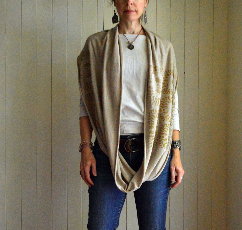 hemp/organic cotton jersey circle scarf dyed with black walnut hulls & printed with metallic gold.