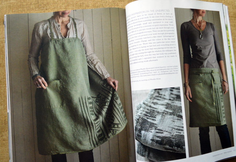 Untold Imprint hemp aprons featured in Belle Armoire Summer 2016