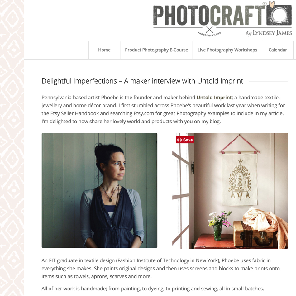 Phoebe Stout featured on  Photocraft® blog.