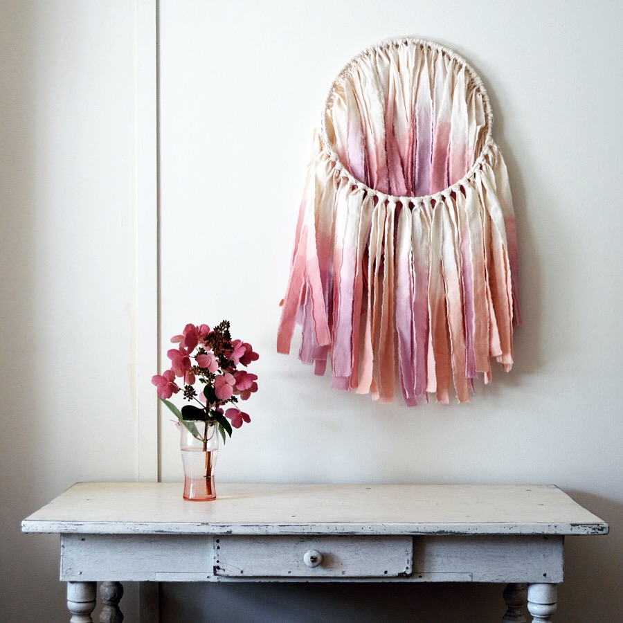 Wanderlust Ombré wall hanging / mobile in shades of peach & pink
