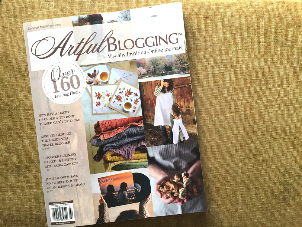 Untold Imprint naturally dyed scarves on the cover of Artful Blogging Winter 2017
