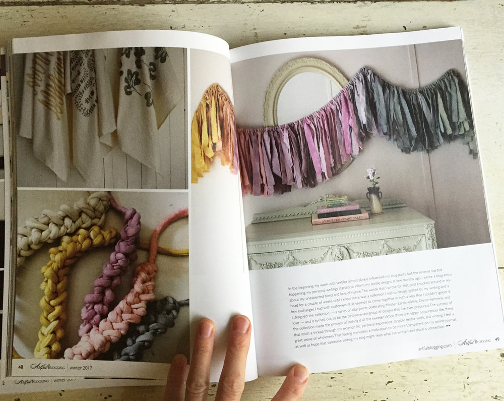Untold Imprint's Wanderlust Garland, printed cotton towels, and textile jewelry in Artful Blogging magazine.