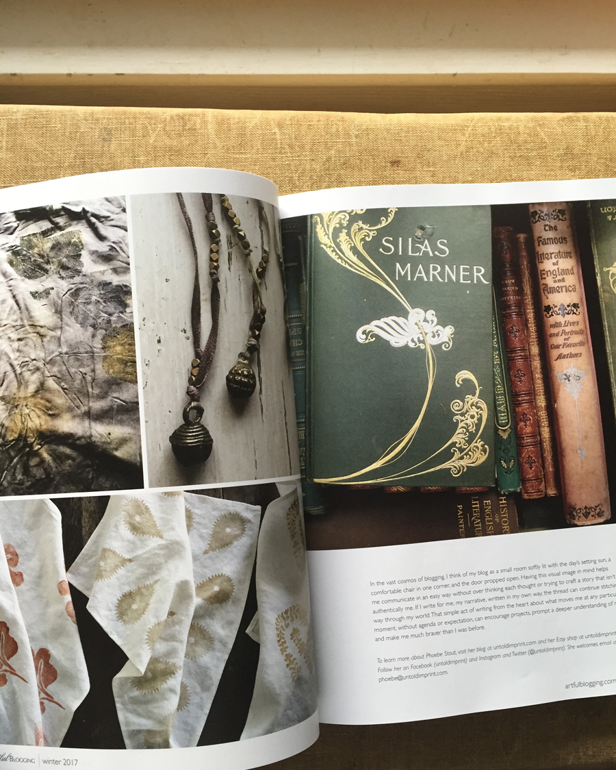 Untold Imprint eco dyed fabric, block printed hemp napkins, and a collection of antique books in Artful Blogging magazine Winter 2017