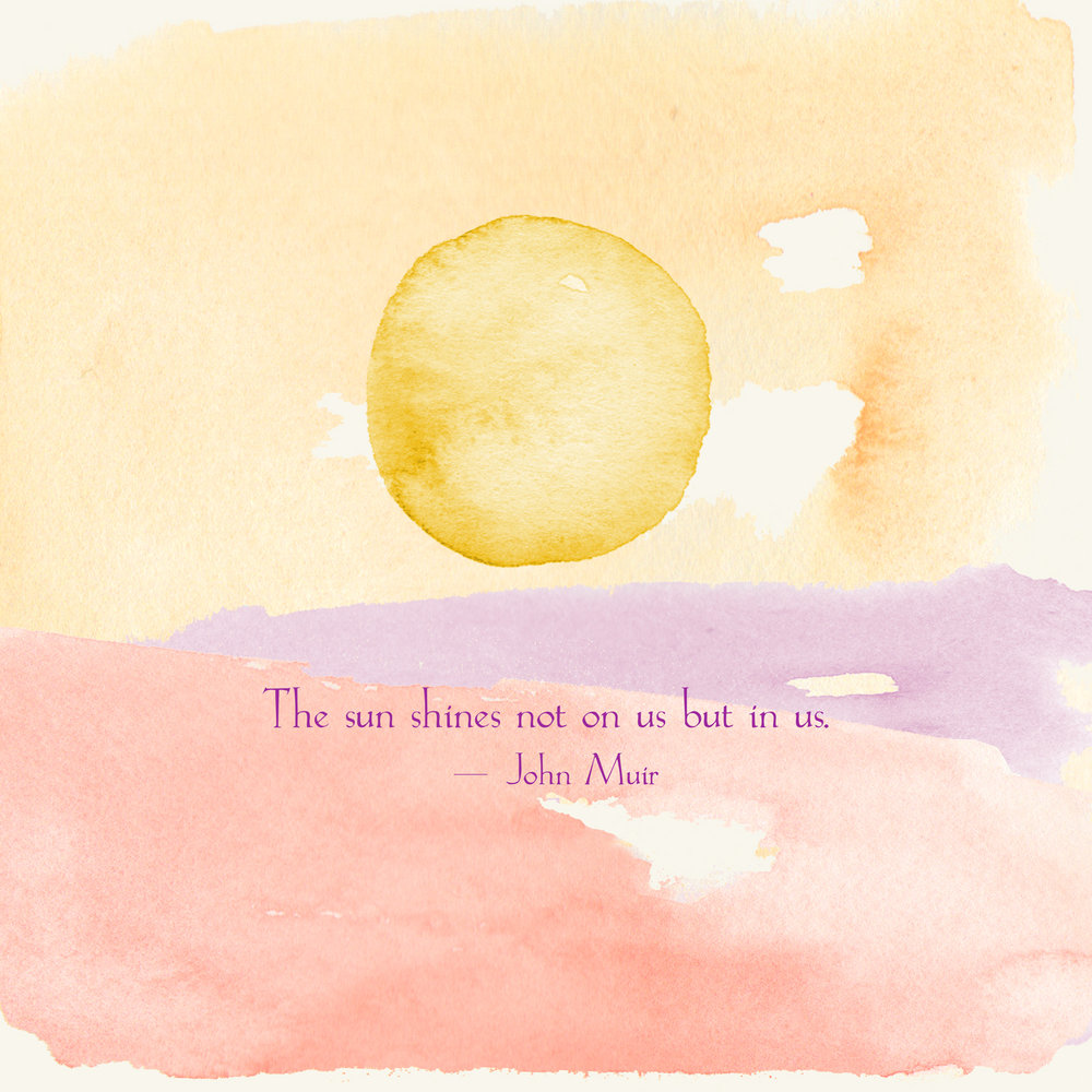 the sun shines not on us but in us - john muir (watercolor painting by Phoebe Stout)