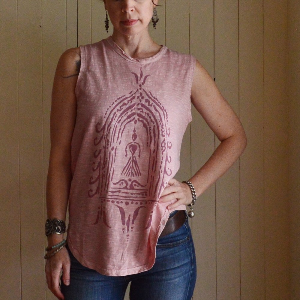 Divine Feminine Altar sleeveless tee in dusty pink by Untold Imprint