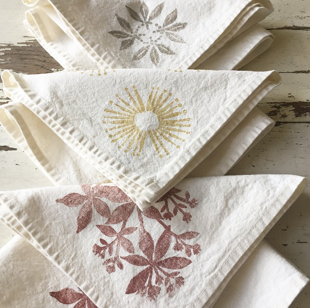 block printed organic cotton napkins by Untold Imprint