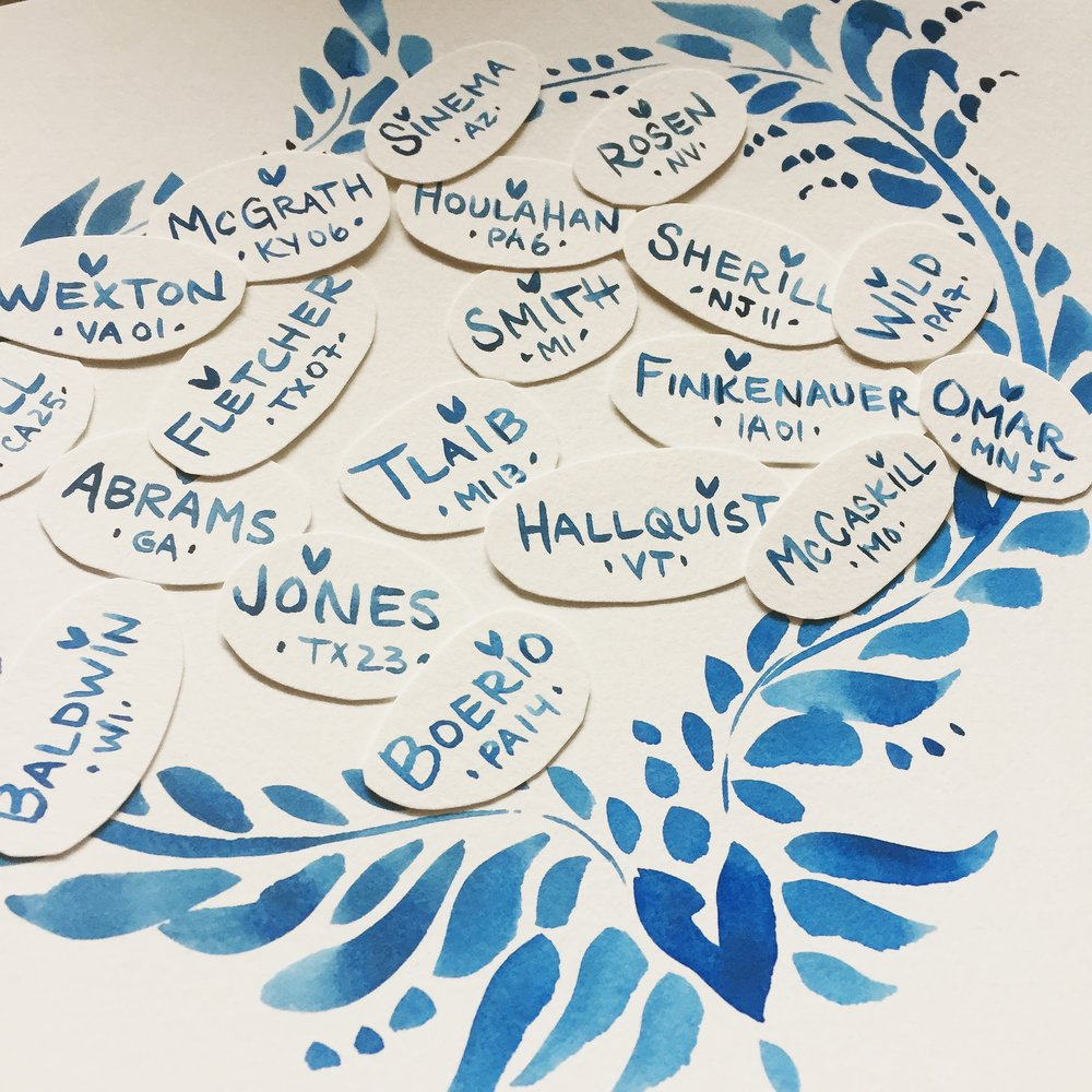 The start of my 'New Moon' pattern with the names of just some of the incredible, awe-inspiring women who ran for office on Nov 6th.