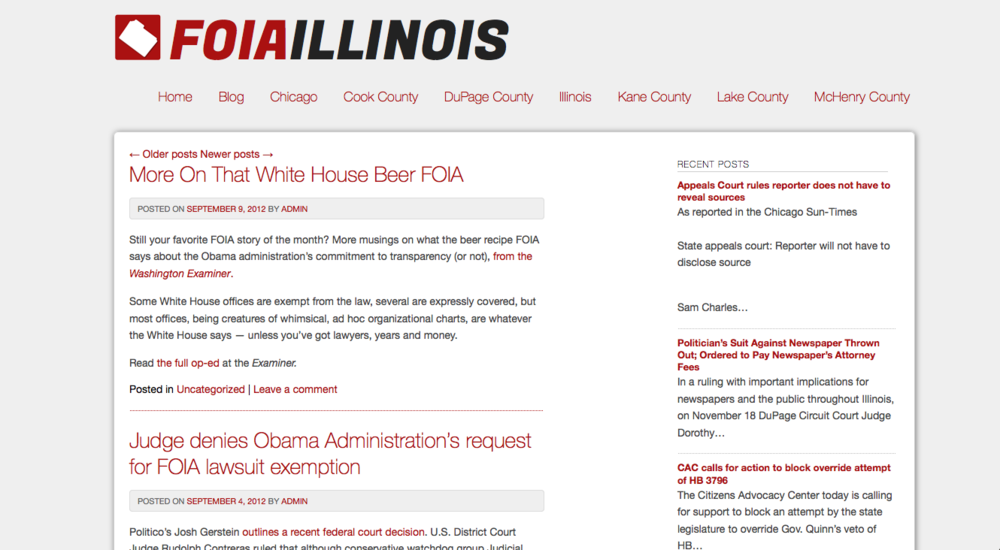 FOIA Illinois resource page & blog series — co-founder, contributor