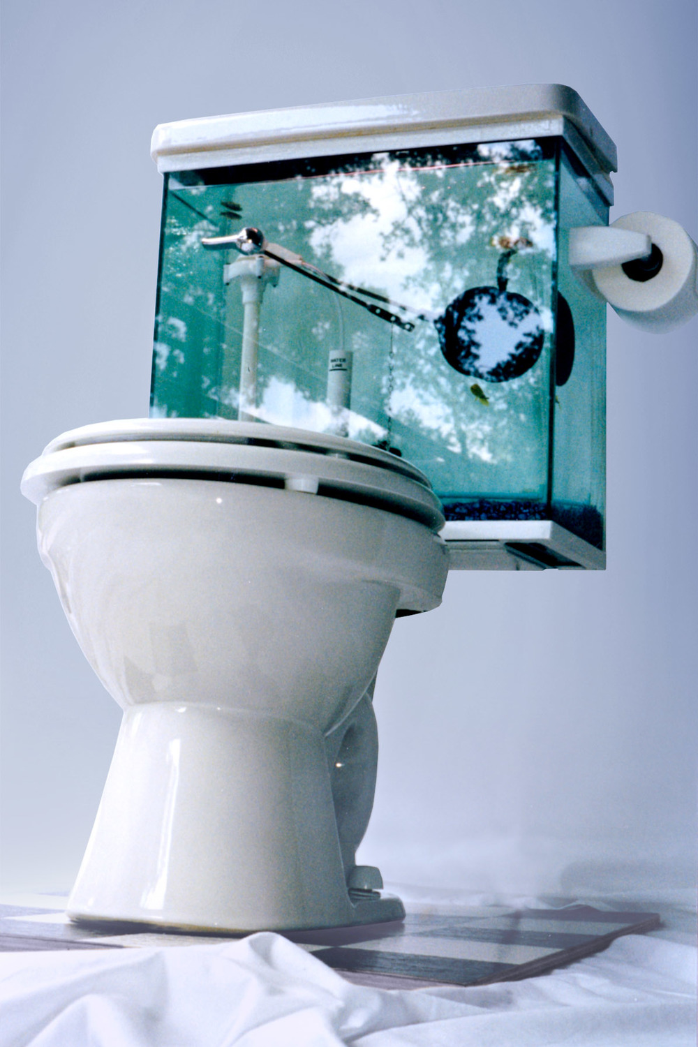 Fish tank toilet - Inside The Tank Is Filled With Real Toilet Parts Plus An Aerator Which Makes The Flapper Move Up And Down All The Fish Food And Supplies Are Stored In The