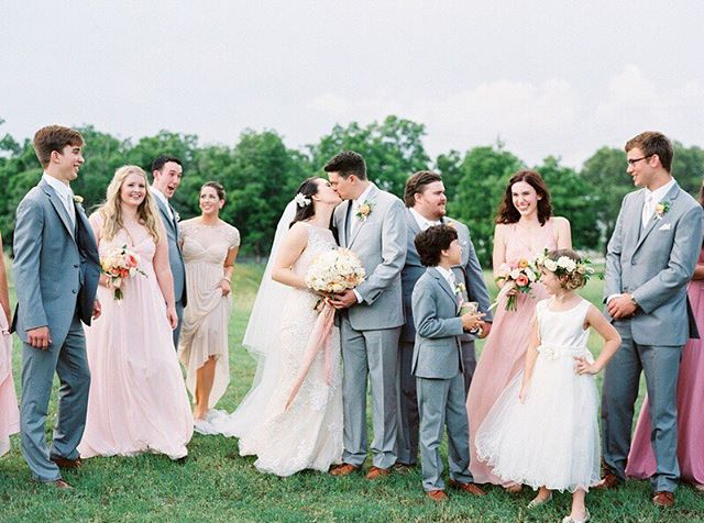 Peachy pink wedding party for the win! See more @mayhardesign magic over on @greylikes today!