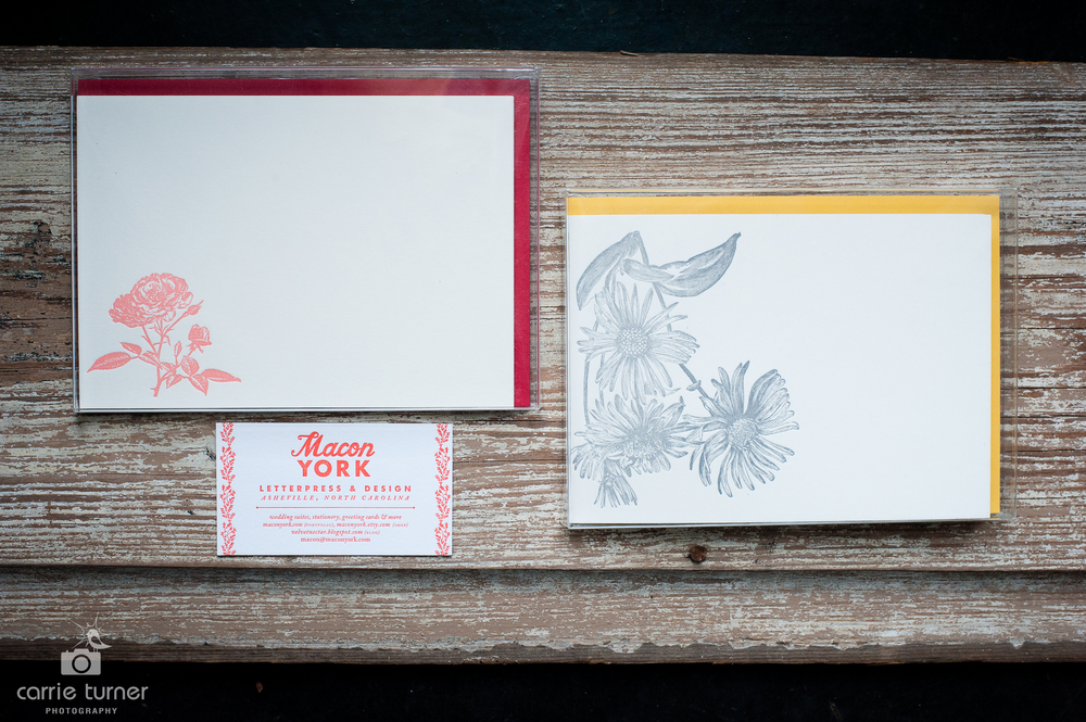 Handprinted letterpress notecards from Macon York