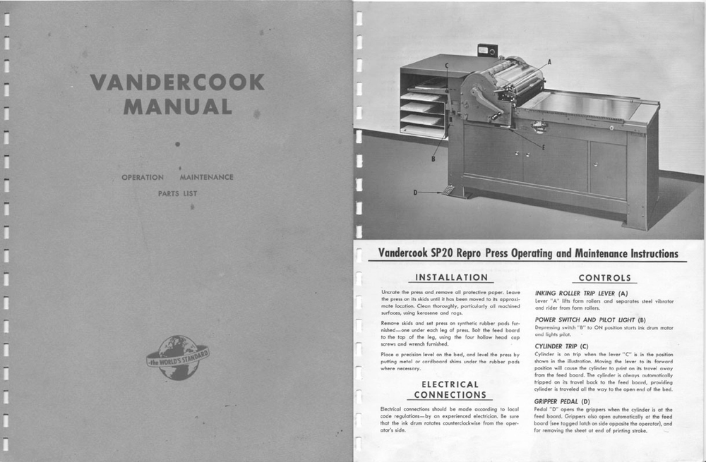 Click here to download a PDF of the Vandercook SP-20 Manual