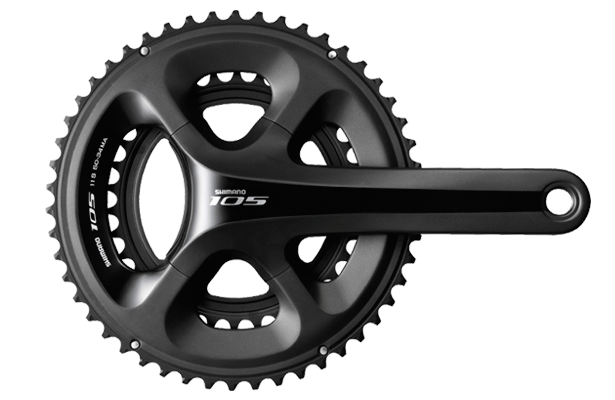 Shimano 105 5800 11-speed crankset. Trickle-down technology for the win!