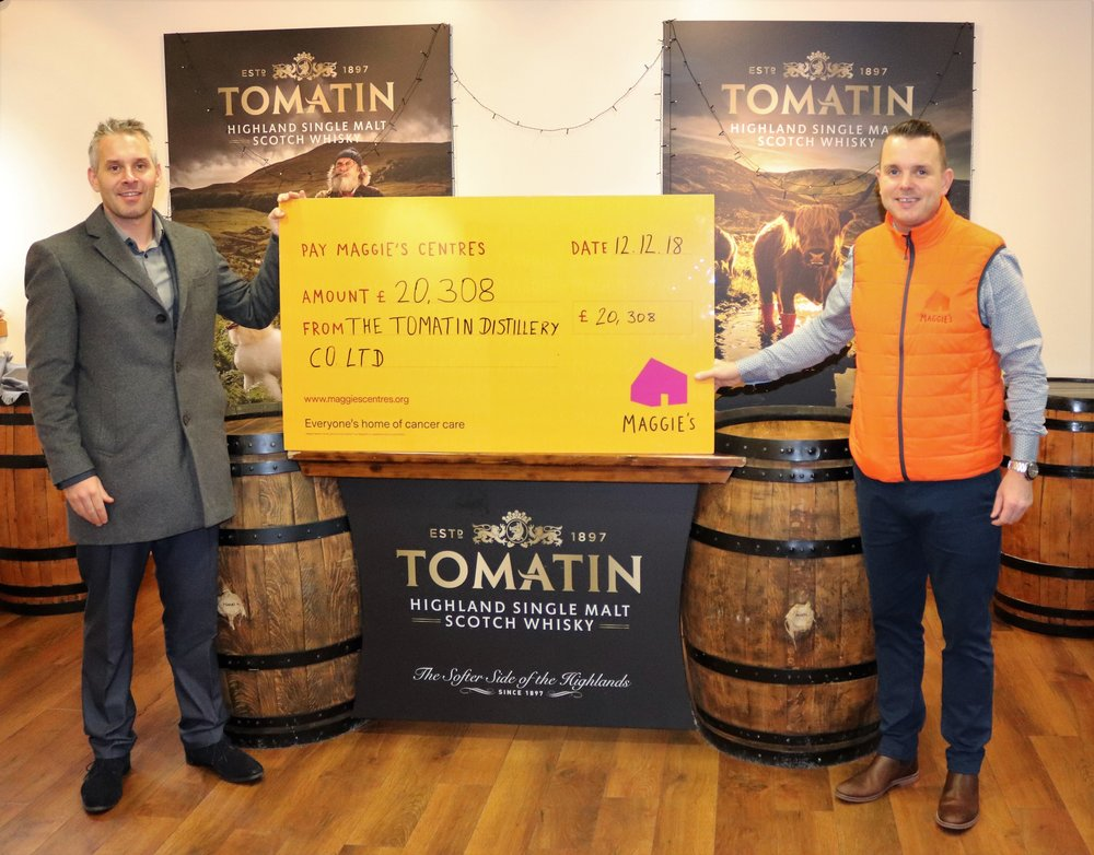 Pictured Stephen Bremner, Managing Director of Tomatin & Andrew Benjamin, Centre Fundraising Manager for Maggies Highland