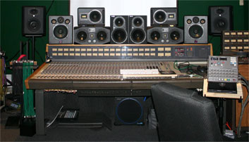 Monitors from JBL, Quested, ADAM, Sampson, and Mackie crowd the console bridge in Studio A.