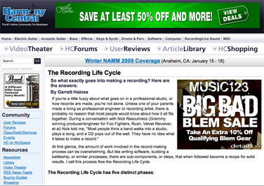 The first installment on the Recording Life Cycle was posted on March 29, 2009.
