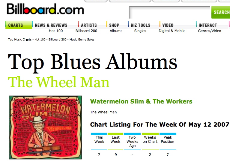 Billboard.com charts showing Watermelon Slim's rankings.