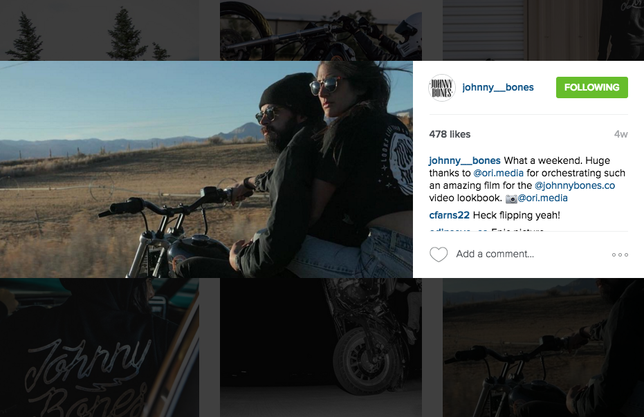 Screenshot of @johnny__bones Instagram account posting a still from motion using the Canon 1D X Mark II WiFi capabilities. Posted on-location during the shoot.