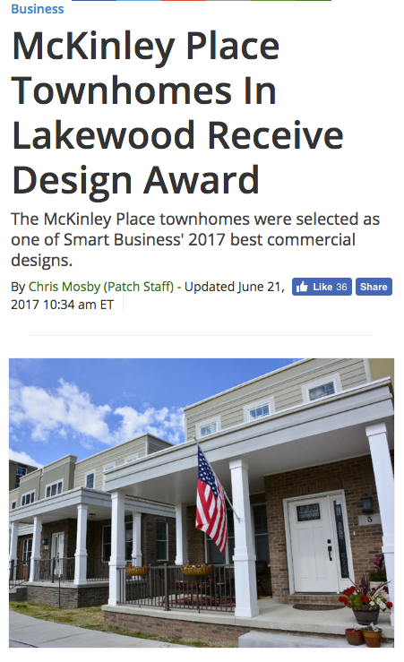 "LAKEWOOD, OH  — The McKinley Place development project is being recognized by Smart Business magazine as one of the 2017 recipients of the Commercial Development Awards. The magazine describes the project as an  inspiration to other communities.   The former site of the McKinley School had been vacant on Lakewood's west side for years prior to the project starting in 2015. The city wanted to facilitate development at the 3-acre site, hoping it would begin contributing to the city's tax base again.  n October 2015, Liberty Development began construction on a 40-unit attached townhome neighborhood at the site. Now, 33 units have been sold. The city speculates on its website that the development will add approximately $15 million to the city's tax base.  ""McKinley Place complements the surrounding neighborhood while helping to fill an important housing need in Lakewood: first-floor living,"" said Lakewood Mayor Michael Summers in a statement. ""This type of housing is an attractive option for both Millennials and empty-nesters alike.""  Smart Business says one of the challenges for the project was the curious shape of the parcel and the aesthetic demands of commercial-heavy Detroit Avenue and the existing residential neighborhood. With only seven units left in the townhomes, Liberty clearly found a model that worked.  ""We are proud to be recognized for helping to build a new neighborhood that complements such an outstanding community. McKinley Place represents the best in public private partnership and our team at Liberty and our residents at McKinley feel fortunate to be part of Lakewood,"" said Tom Kuluris, president of Liberty Development Company, in a statement."
