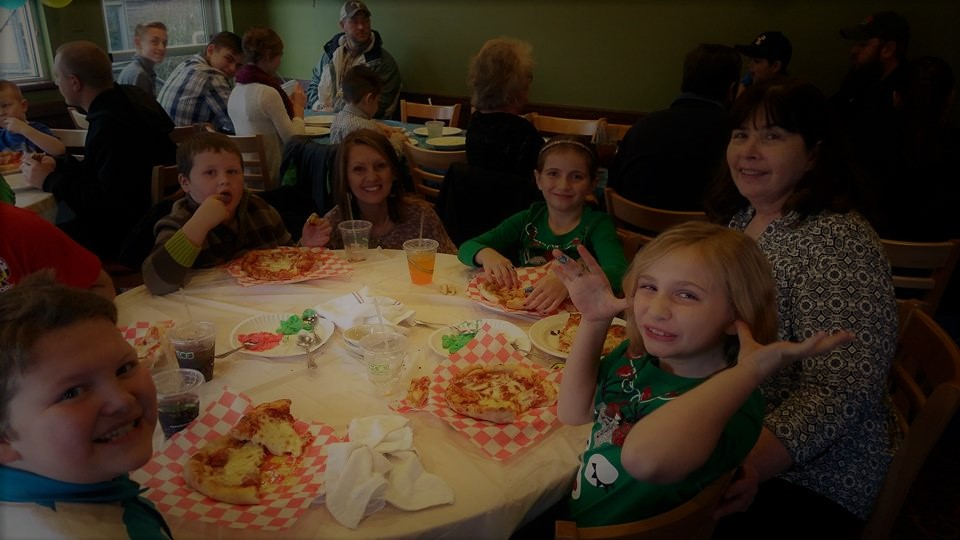 Brenda enjoying lunch with her granddaughters Eve and Ruth and friends.  (L-R: Riley and Jack (sons of Jean Thomas from Trader's Coffee House), Holly O'Brien (one of our favorite past employees), Ruth, Brenda, and Eve.