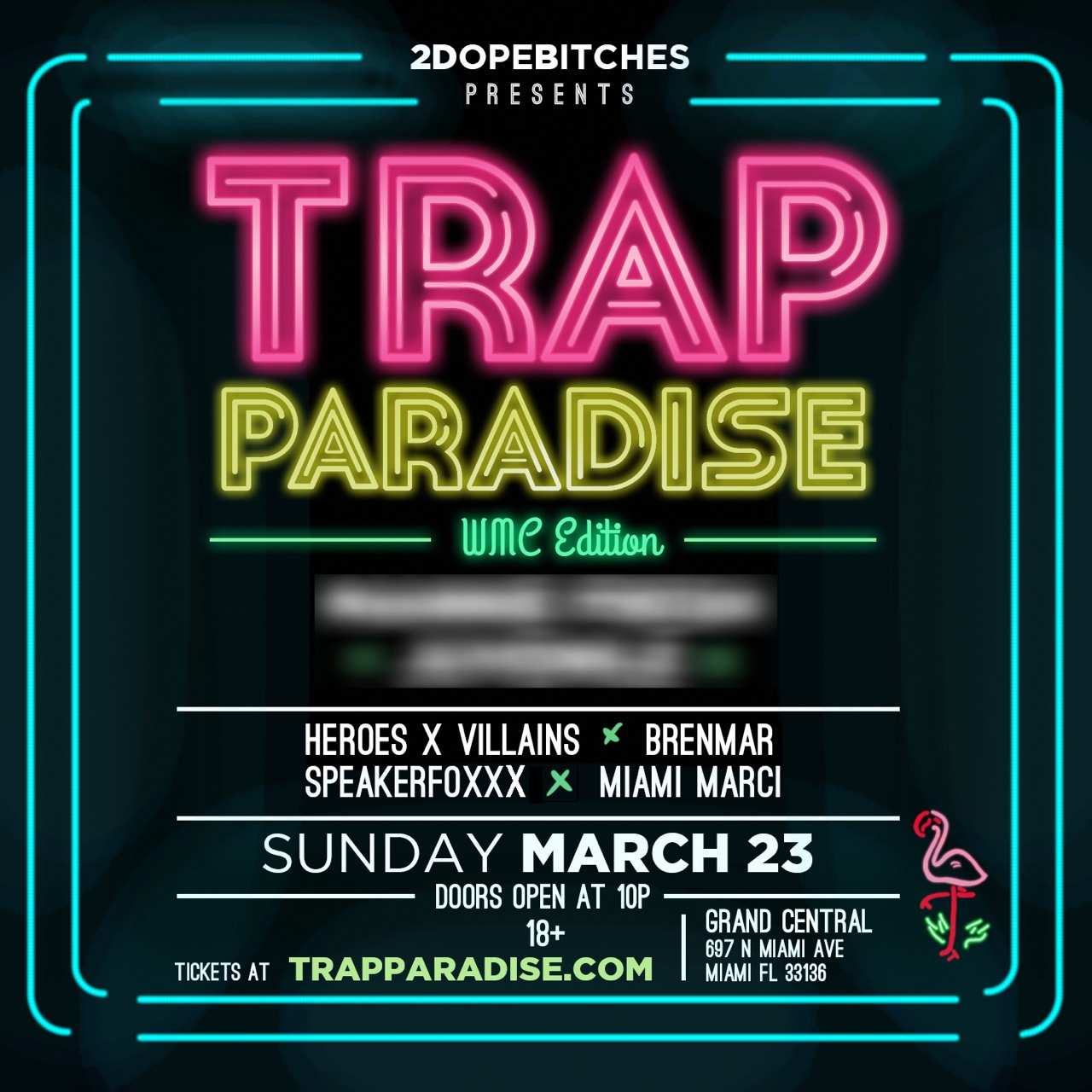 Once again, it's back on in Miami. I'm so excited to have been a part of developing and bringing this awesome new wave to my hometown, and with the best minds doing things right now. Brenmar, SPEAKERFOXXX, Heroes and Villains, alongside myself and very special guests to be announced. The 2 DOPE BITCHES present Trap Paradise 2014. The legendary Grand Central. Tickets available at TrapParadise.com. #TrapParadiseIsBack