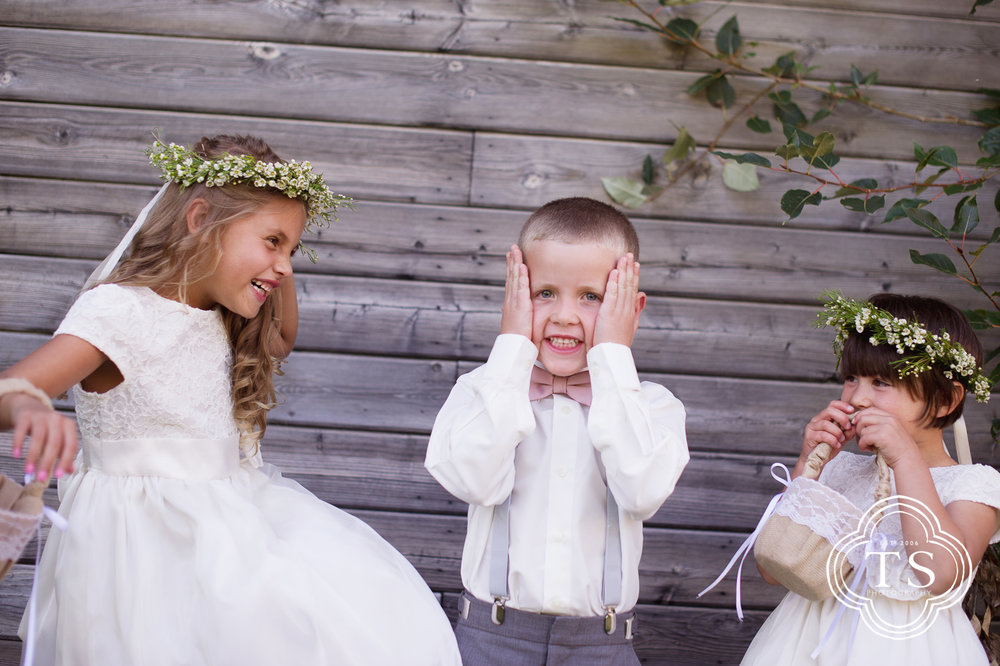 Ring bearer and flower girls just before the wedding.