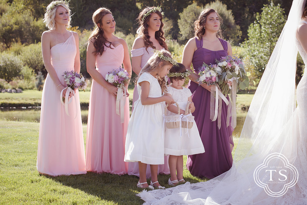bridesmaids and flower girls at the wedding