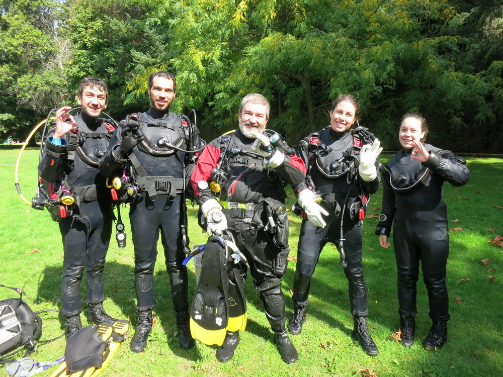 Rowand's reef open water diver students enjoying their training dives at whytecliff park