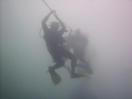 Locating and following a reference point such as a line or rope, can help direct you out of the silt