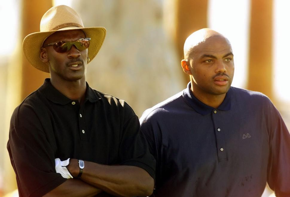 Photo of Michael Jordan & his friend basketball player  Charles Barkley - Longtime