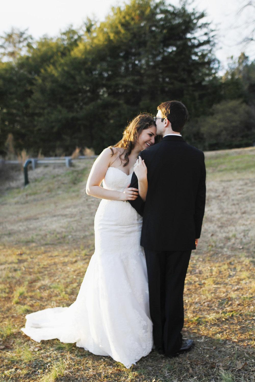 Winter Wedding Veil Bride and Groom Portrait