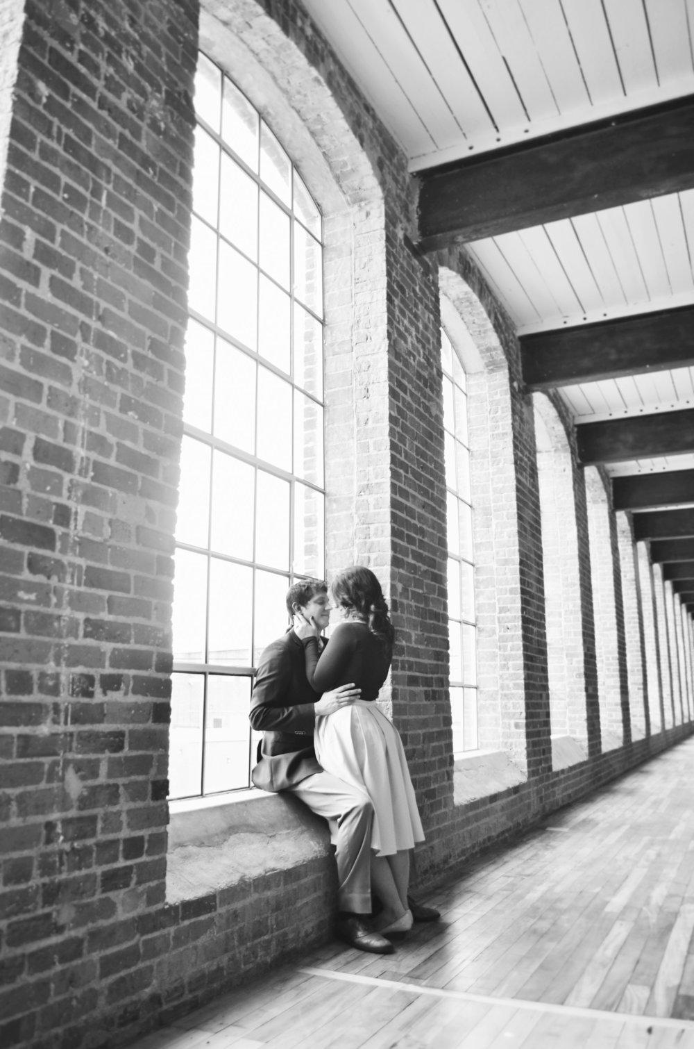 Revolution Mill Events Center Engagement Photography Greensboro North Carolina by Kayli LaFon Photography