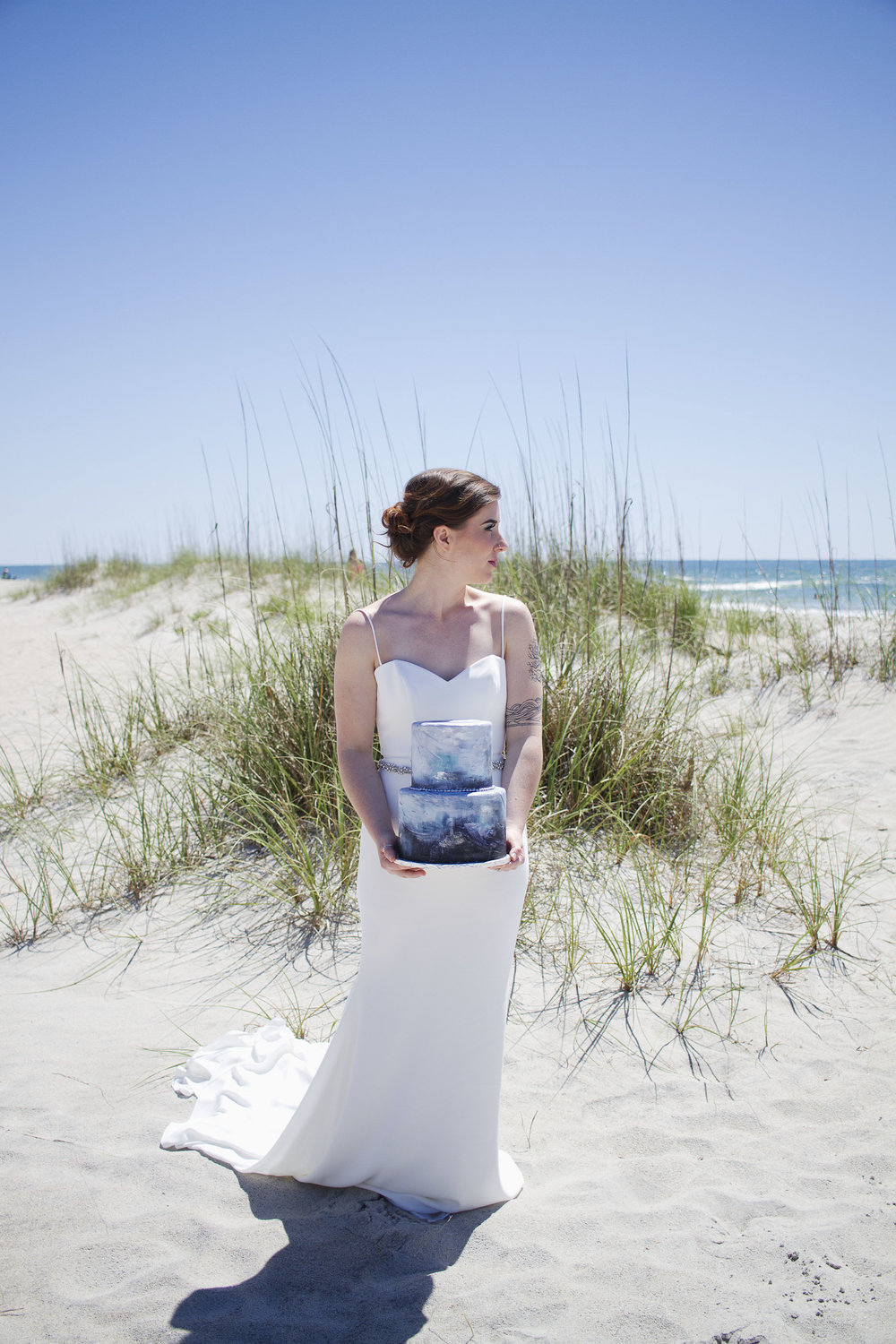 Bridal Portrait with Wedding Cake at Wrightsville Beach