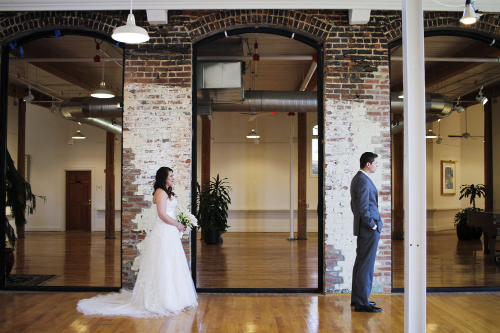 Revolution Mill first look wedding photography by Kayli LaFon Photography