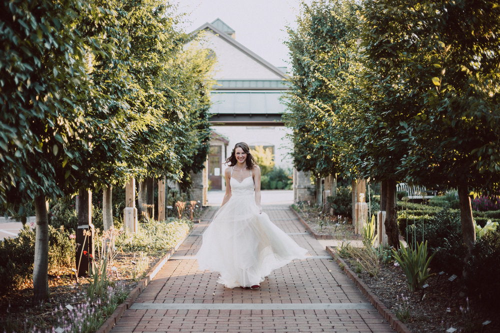 Summer Bridal Portraits in a Garden by Greensboro Winston-Salem Photographer