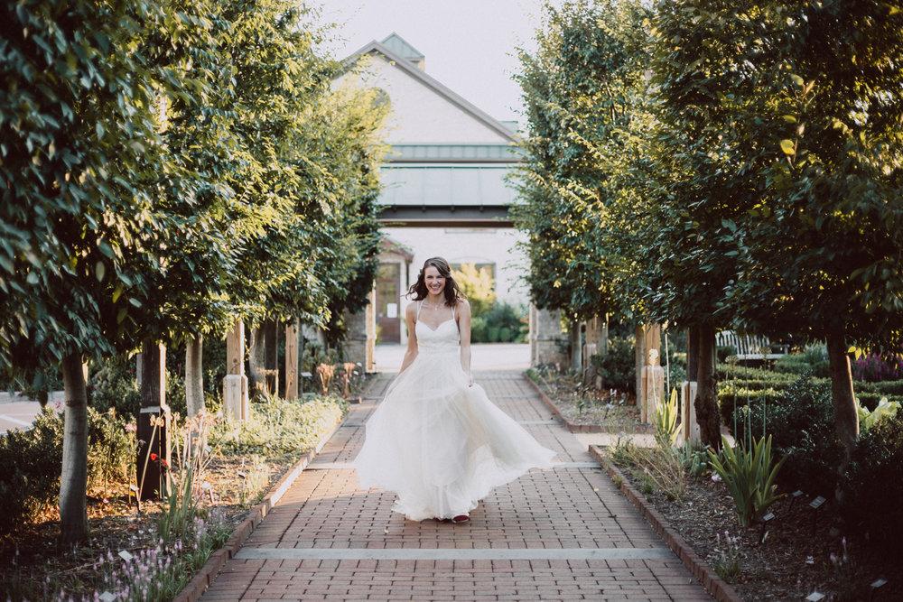 Summer Bridal Portraits in a Garden by Greensboro Winston-Salem Photographer