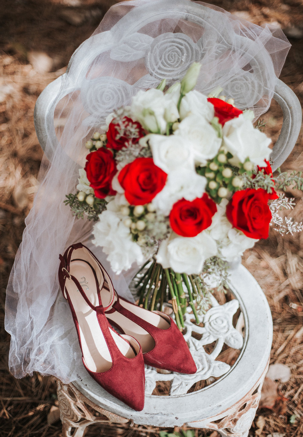 Bridal Shoes, Veil, and bouquet, Wedding Details  by Greensboro Winston-Salem Photographer | Kayli LaFon Photography